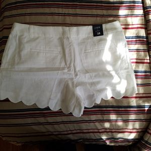 Scalloped White Shorts
